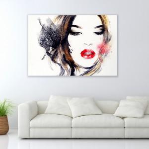 Obraz z piękną twarzą kobiety, gdzie najwyraźniejszym detalem są czerwone usta. Wzór dostępny w sklepie Demural. Fot. Demural.