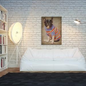 Zabawny portret psa świetnie nada się do nowoczesnego, loftowego wnętrza, ale nie tylko. Propozcyja firmy Vaku-Dsgn. Drukowany na płótnie obraz dostępny w sklepie DaWanda, cena 89 zł. Fot. DaWanda.