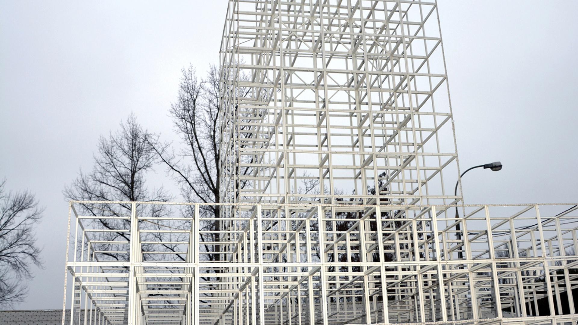 Instalacja przypominająca Pałac Nauki i Kultury. Fot. GRID