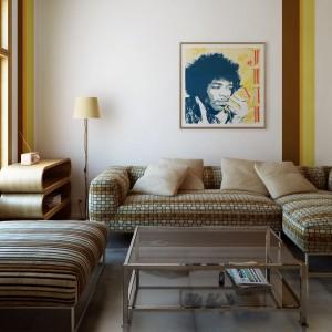 Salon, który sprawia wrażenie, jakby został wyjęty z lat 70-tych, zaaranżowany jest w niezwykle modnym dziś stylu vintage. Główną rolę odegrała kolorystyka i materiały tapicerowanych mebli oraz poduszek. Producentem tych tkanin jest firma Dekoma. Fot. Dekoma.