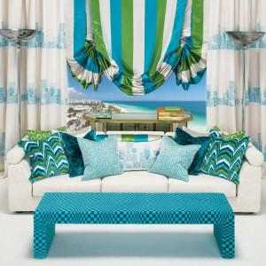 Zasłony z serii Miami marki Zinc Textile przywodzą na myśl marzenia o ciepłych, egzotycznych wakacjach. Idealna propozycja do nowoczesnych, kolorowych wnętrz. Fot. Zinc Textile.