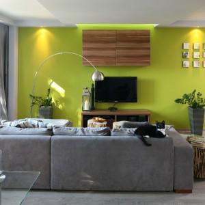 Smukłą lampę ustawiono między kanapą a telewizorem, dzięki czemu oświetla centralną strefę salonu. jej stalowy połysk komponuje się z barwą ciężkiej, nowoczesnej kanapy. Projekt: Arkadiusz Grzędzicki. Fot. Bartosz Jarosz.