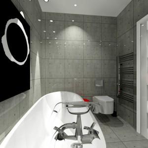 Czarny obraz na betonowej ścianie to oryginalna dekoracja łazienki. Aranżację dopełnia bateria w stylu retro. Podobną zamontowano też przy umywalce. Projekt: Wioleta Bednarczyk, pracownia Glamloft. Fot. Wioleta Bednarczyk.