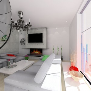 Duże przeszklenia i szara, betonowa ściana to typowo loftowe elementy wystroju. Mieszkanie zostało ocieplone jasną, nieco rustykalną podłogą z olejowanej dębowej deski litej. Projekt: Wioleta Bednarczyk, pracownia Glamloft. Fot. Wioleta Bednarczyk.