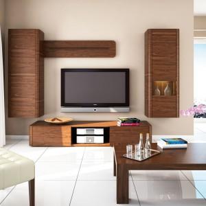 Meble modułowe do salonu z kolekcji Varadero marki Paged wyróżnia wyrazisty rysunek drewna w ciepłym wybarwieniu. Fot. Paged.