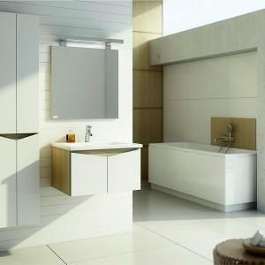 Meble Ramos Evolution firmy Aquaform łączą biel i dekor drewna w wybarwieniu legno jasne. Szafki z frontami o nietypowym kształcie  sprawdzą się w nowoczesnym wnętrzu.  Fot. Aquaform.