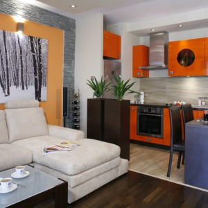 Niewielka kawalerka urządzona została w ciepłych barwach drewna i pomarańczy. Te ostatnie zdominowały zintegrowaną z salonem kuchnię z jadalnią. Projekt: Jolanta Kwilman. Fot. Bartosz Jarosz.
