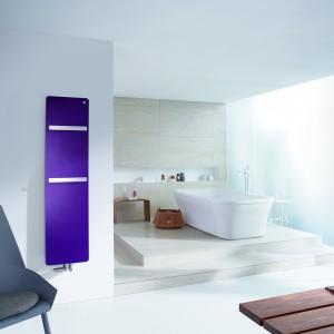 Grzejnik Vitalo Bar firmy Zehder ma atrakcyjny kolor i efektowne wycięcia, które mogą służyć do zawieszania ręczników. Fot. Zehnder.