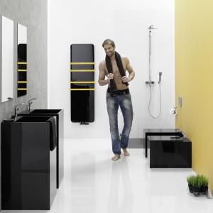 Indivi New firmy Instal-Projekt to model z czarnym szklanym ekranem, po którym można pisać (specjalne flamastry w zestawie). Relingi w kontrastowym kolorze do zawieszania ręczników. Fot. Instal-Projekt.