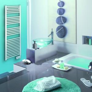 Model 2012 firmy Atlantic, to grzejnik elektryczny, który jest jednocześnie łazienkową suszarką. Fot. Atlantic.