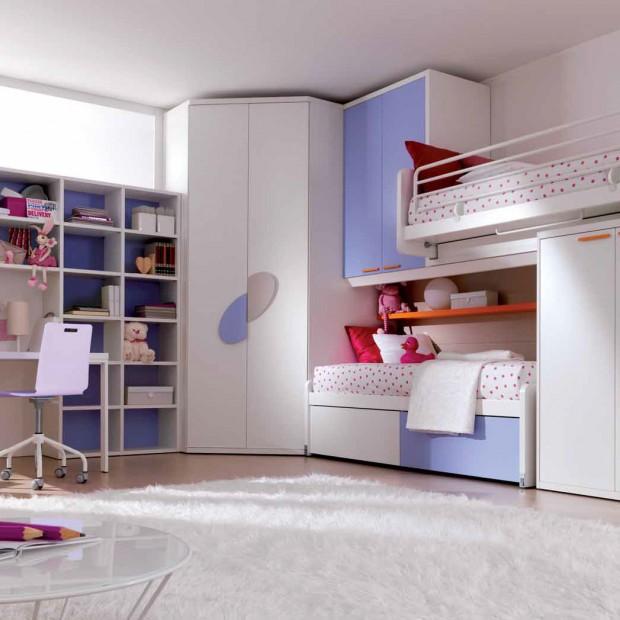 Pokój dziewczynek: jasne wnętrze z łóżkiem piętrowym