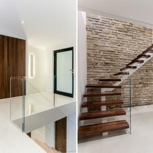 Drewniane stopnie schodów zamknięto szklaną balustradą, dodając otwartej klatce schodowej lekkości. Projekt: Frédric Clairoux, Julie Lafontaine. Fot. JB Valiquette.