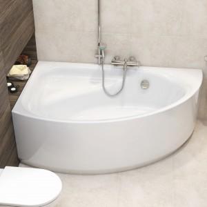 Wanna Meza firmy Cersanit ma asymetryczny kształt i ergonomicznie wyprofilowane wnętrze, zapewniające wygodną i komfortową kąpiel mimo niewielkich wymiarów wanny.  Fot. Cersanit.