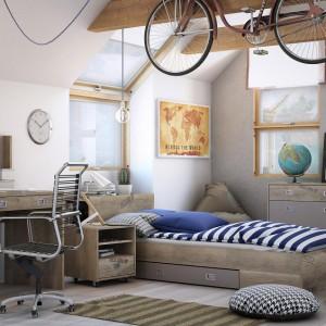 Zestaw mebli dla Voyager marki Agata Meble to propozycja do pokoju nastolatków. Efekt postarzanego drewna sprawia, ze wnętrze zyskuje niepowtarzalny, designerski wygląd. Charakteru dodają belki sufitowe. Fot. Agata Meble.