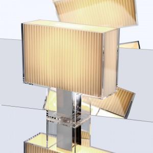 Lampa Tati z abażurem w formie prostopadłościanu to propozycja do nowoczesnych wnętrz. Geometryczna forma oświetlenia podkreśli charakter każdej minimalistycznej aranżacji. Fot. Design Studio Laviani.