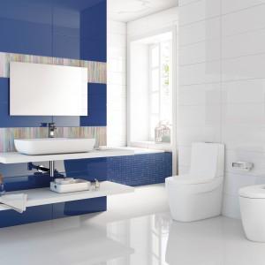 Allegra marki Roca to kolekcja, która łączy biel z głębokim odcieniem koloru niebieskiego. Całość ożywia kolorowy dekor w prążki. Fot. Roca.