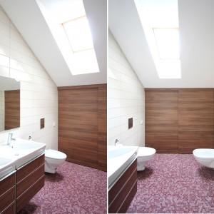 Na poddaszu urządzono dwie łazienki. Mniejsza zyskała kolorowy akcent, nieoczekiwanie zrywający z kolorystyczną dyscypliną wnętrz, w postaci wrzosowej mozaiki na podłodze. Projekt: Ramunas Manikas, Valdas Kontrimas. Fot. Ramunas Manikas.