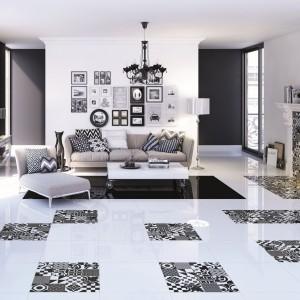 Wykorzystując płytki z serii Morocco marki Ceramstic można uzyskać na podłodze artystyczną kompozycję, która ozdobi wnętrze niczym dekoracyjny dywan. Fot. Ceramstic.