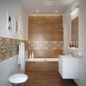 Piękną kolorystykę i wzór naturalnego drewna mają płytki Gusto Cersanit. Wzorzysty dekor naśladuje misterne mozaiki. Fot. Cersanit.