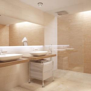Jak wnętrze fińskiej sauny wygląda łazienka z katalogu Aparici. Naturalne jasne drewno imitują płytki z kolekcji  Saw. Fot. Aparici.