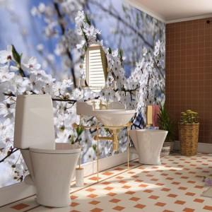 Łazienkę można także odmienić za pomocą fototapety. Ta od AgatonStudio wprowadzi do wnętrza światło i wiosnę. Fot. AgatonStudio.