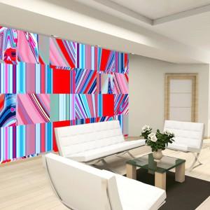 Tapeta, której powtarzającym się motywem są wielobarwne kwadraty, podkreśli styl minimalistycznego wnętrza. Taka dekoracja najlepiej sprawdzi się w nowoczesnym, jasnym salonie urządzonym meblami o prostej formie. Fot. JVD.
