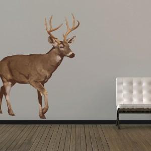 Naklejka ścienna w formie dumnego jelenia paradującego po ścianie spektakularnie odmieni nawet najbardziej skromną aranżację. Fot. In-Spaces.