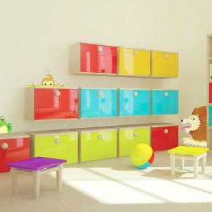 Aby szafki komponowały się z wystrojem pokoju można ozdobić je lub ścianę, na której są zamontowane, dekoracyjnymi naklejkami. Fot. In-Spaces.