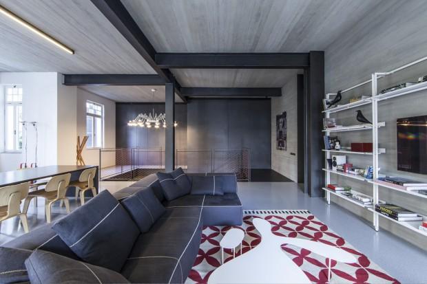 Nowoczesne szare wnętrze. Piękny apartament w Tel Awiwie