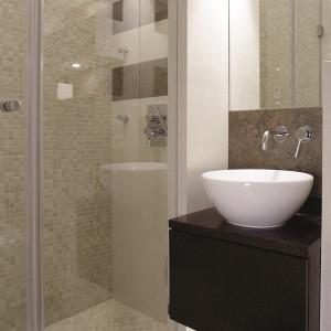 W tej bardzo małej, gościnnej łazience prysznic udał się zmieścić we wnęce dzięki zastosowaniu drzwi składanych do środka podczas otwierania. Projekt: Magdalena Olchowik, Izabela Niesiołowska. Fot. Bartosz Jarosz.