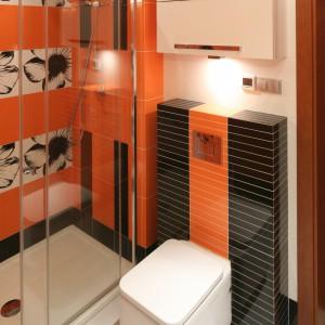 Drzwi prysznicowe to model podwójny, przesuwany. Dzięki zastosowaniu takiego rozwiązania drzwi nie kolidują z innymi sprzętami, nawet zamontowanymi bardzo blisko kabiny. Projekt: Magdalena Bonin-Jarkiewicz. Fot. Bartosz Jarosz.