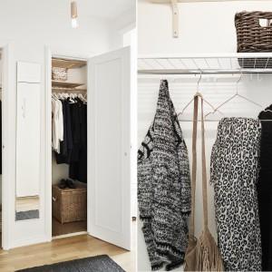 W przedpokoju jest dużo miejsca na przechowywanie. Ukryta za wysokimi drzwiami, praktyczna garderoba ma dodatkową półkę wysoko pod sufitem. Fot. Stadshem.se/Janne Olander.