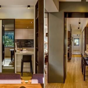 Elementy działowe i meble w mieszkaniu tworzą oryginalną grę geometrycznych form. Projekt i zdjęcia: Archlin Studio.