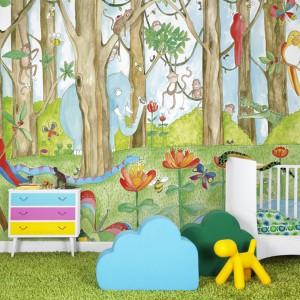 Nawet najzwyklejszy pokój malucha może stać się dżunglą pełną kolorowych zwierząt. Taką egzotyczną metamorfozę zapewni tapeta marki Mr Perswall. Fot. Mr Perswall.