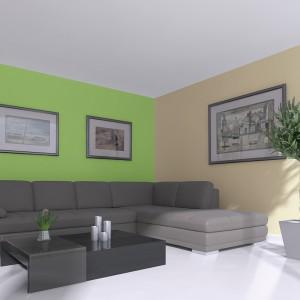 Jasna zieleń w połączeniu z ciepłym odcieniem jasnej pomarańczy to propozycja dla miłośników stonowanych aranżacji. Fot. Jedynka.