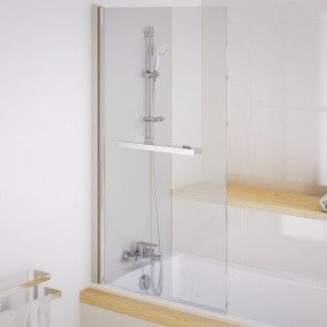 Parawan Actima 900 firmy Excellent uniwersalny i elegancki; jednoczęściowy z uchwytem na ręcznik; ze szkła  grubości 6 mm, z powłoką CleanControl. Fot. Excellent.