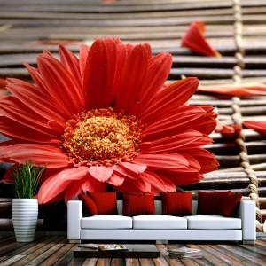 Czerwona gerbera w rozmiarze XXL to pełna ekspresji dekoracja ściany nie tylko do salonu. Fot. Demural.