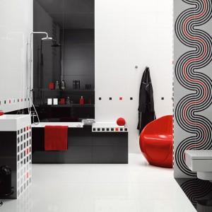 Nowa kolekcja dekorów Opp! umożliwia nowoczesne wykończenie łazienki w odcieniach bieli, czerni i czerwieni. Fot. Ceramstic.