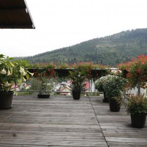 Metalową barierkę tarasu pięknie zdobią kolorowe kwiaty. Całość spaja natomiast Drewlanina podłoga. Projekt: Małgorzata Borzyszkowska. Fot. Bartosz Jarosz.