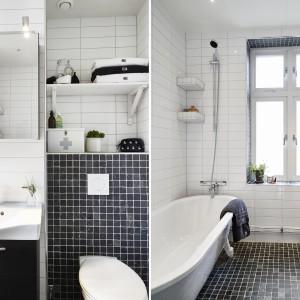 W łazience postawiono na uniwersalny duet kontrastujących barw. Czerń i biel idealnie się uzupełniają w tej monochromatycznej aranżacji. Fot. Stadshem.se/Janne Olander.