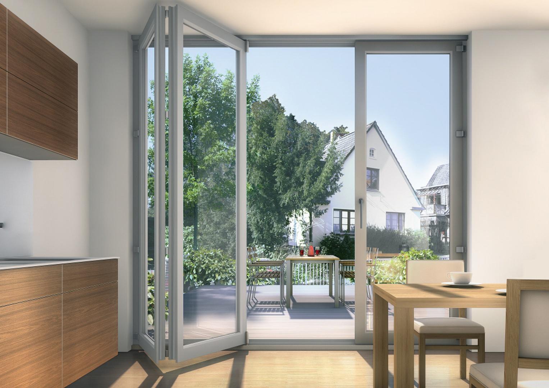 Ciekawym rozwiązaniem są drzwi harmonijkowe, które przy całkowitym otwarciu odsłaniają w pełni otwór drzwiowy. Fot. Inoutic, profil Elite.
