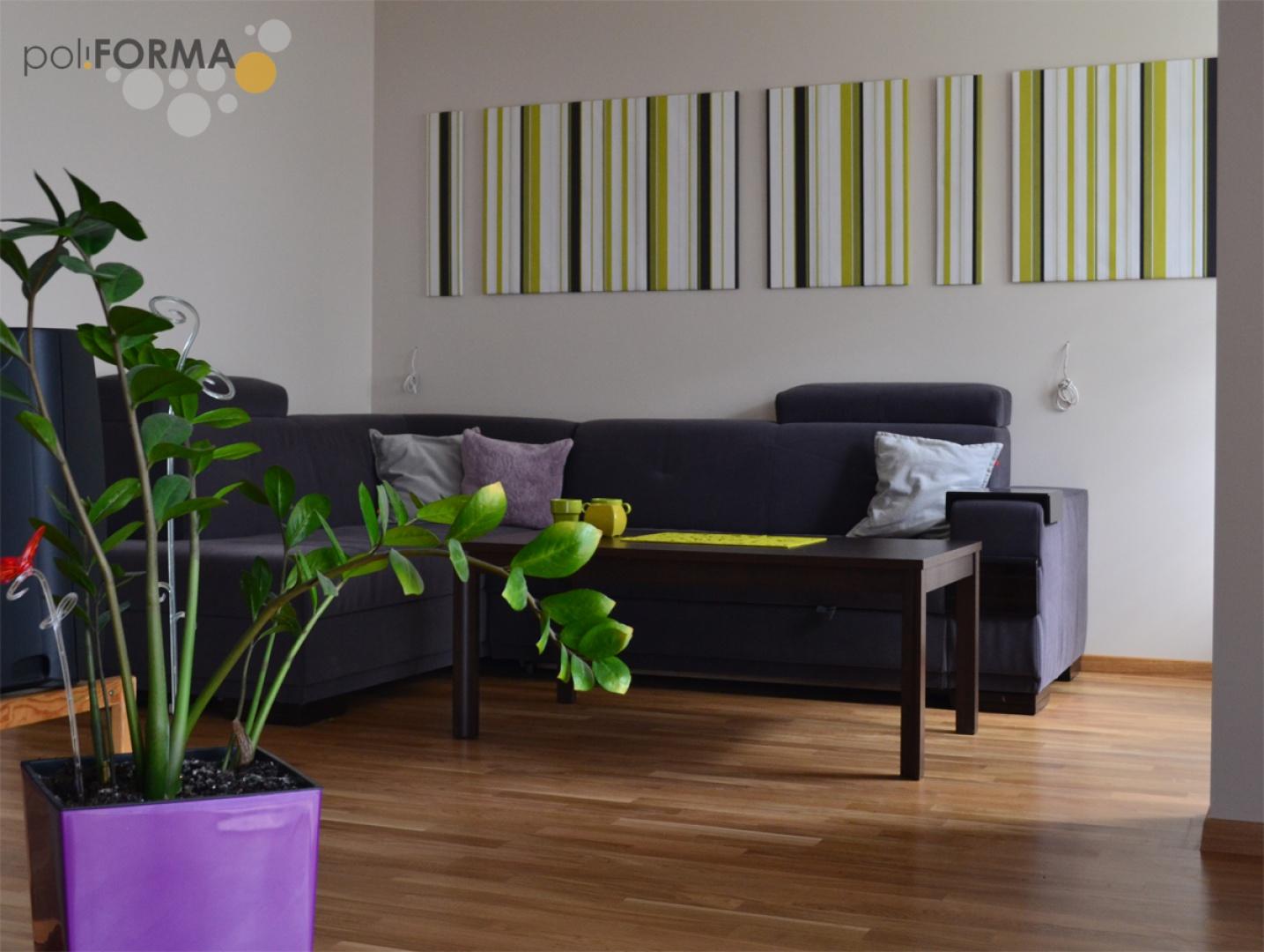 Salon wyróżnia się dekoracją ścienną w postaci grafiki -  panele pokryte tapetą. Projekt - Pro-Cert, Białystok. Fot. Pro-Cert