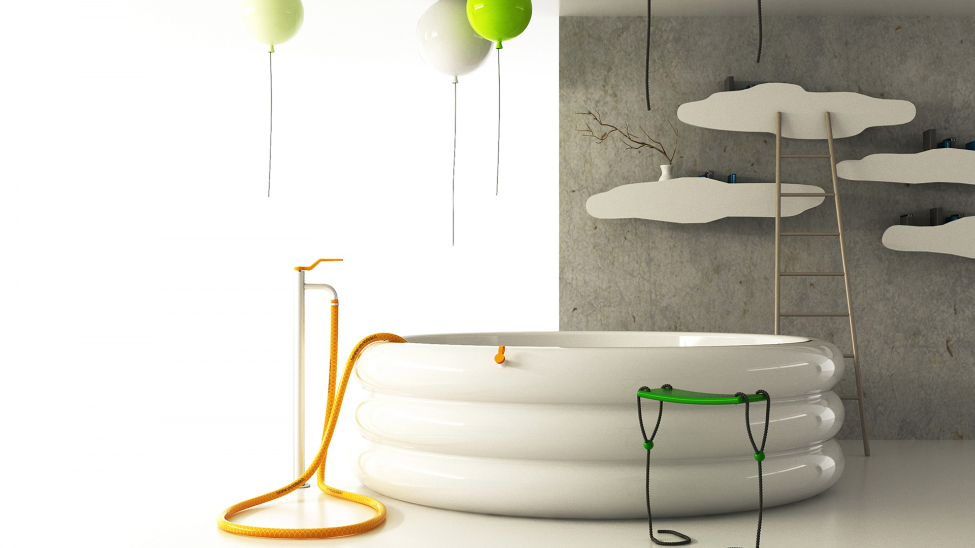 Kolekcja Everyday Poetry - odrobinę poezji w codziennym życiu zapewniają lampy sufitowe w kształcie balonów, wyglądająca na dmuchaną wannę czy półki-chmurki. Fot. Archiwum Borisa Klimka.