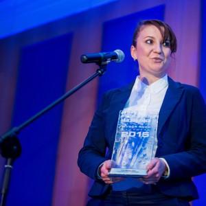 Nagrodę w kategorii Akcesoria Łazienkowe odebrała Joanna Gortat, produkt menedżer ds. stelaży Sanitec Koło. Fot. Paweł Ławreszuk.