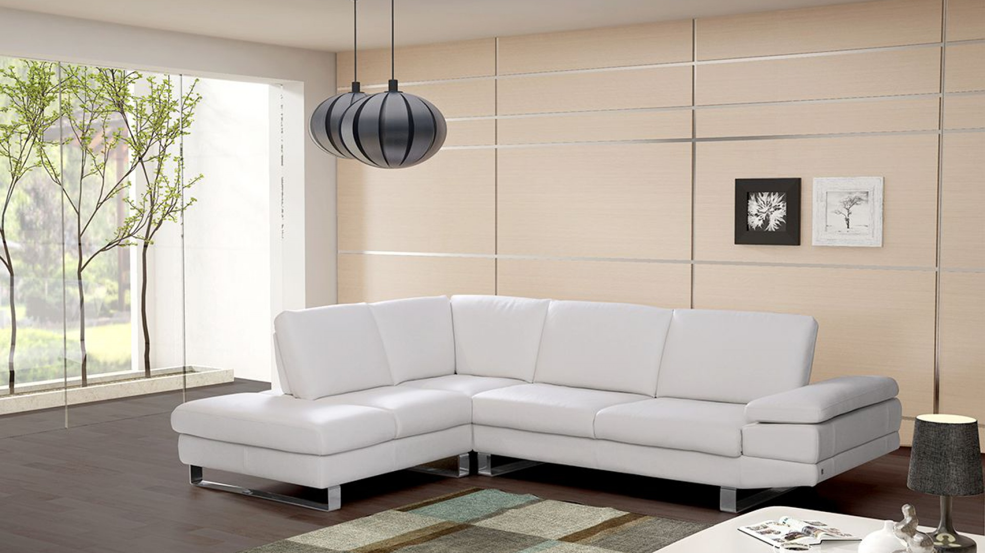 Nowoczesna kanapa narożna Lexus marki TC Meble z funkcją podnoszenia podłokietnika to propozycja do nowoczesnego salonu. Stalowe nóżki dodają uroku, stanowiąc solidne podparcie mebla. Fot. TC Meble.