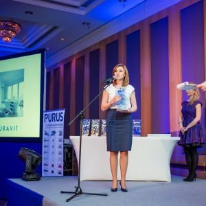 Nagrodę główną w kategorii Całościowe Aranżacje Łazienek odebrała Barbara Lesner z customer service Duravit Polska. Fot. Paweł Ławreszuk.