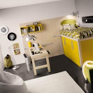 W niewielkim pokoju znakomicie sprawdzi się łóżko na szafie. Dzięki temu, w przestrzeni przeznaczonej na jeden z tych mebli, zmieścimy aż dwa elementy, oszczędzając miejsce na zabawę. Fot. Tumidei.