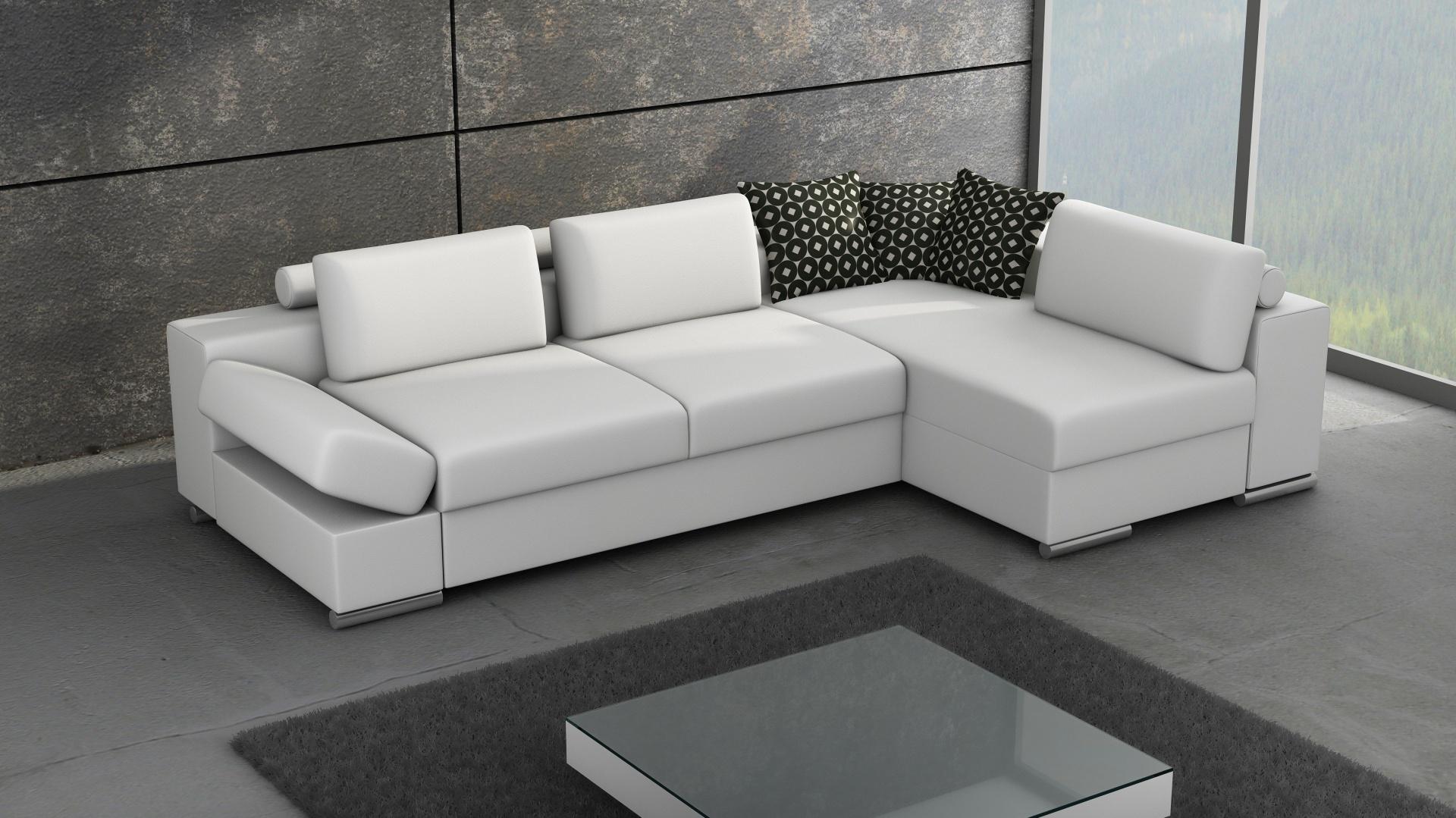 Narożnik Castello Lux marki Caya Design jest synonimem nowoczesnego wzornictwa połączonego z funkcjonalnością. Wysoki komfort siedziska zapewnia system sprężyn i wysokoelastycznych pianek HR oraz wzmocnienia z elastycznych pasów. Oparcie mebla, w formie poduszek może być wypełnione albo bardzo miękkim wsadem z silikonu albo gęsim pierzem. Występuje jako: narożnik L i P, sofa 3 i 2-osobowa, fotel i pufa. Fot. Caya Design.