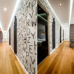 Surowe, szare ściany zdobią oryginalne napisy, sprawiające wrażenie nakreślonych węglem. Projekt i zdjęcia: Marco Marotto, Paola Oliva, Brain Factory.