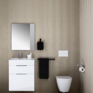 W małych łazienkach dobrze sprawdzą się proste, lekkie kształty. Fot. Kartell by Laufen.